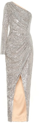 Rasario One-shoulder sequined gown