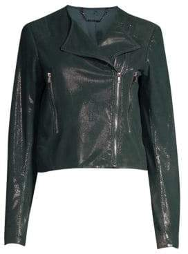 Elie Tahari Julia Pine Grove Pebble Shine Leather Jacket