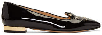 Charlotte Olympia SSENSE Exclusive Black Patent Mid-Century Kitty Flats