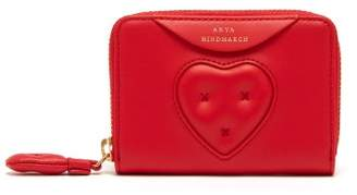 Anya Hindmarch Chubby Heart Small Leather Wallet - Womens - Red