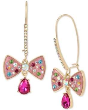 Betsey Johnson Betsey Johnston Gold-Tone Stone & Enamel Bow Drop Earrings