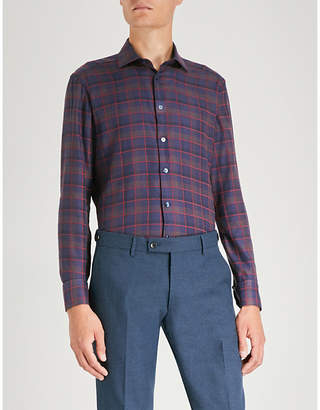 Etro Checked slim-fit long-sleeve woven shirt