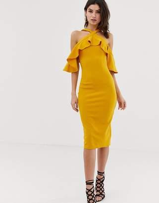 Girl In Mind halterneck frill cold shoulder dress