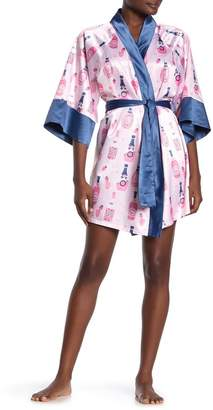 Munki Munki Rose Bottle Print Satin Kimono Robe
