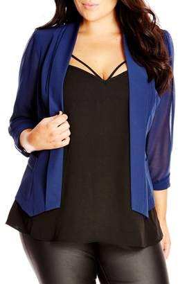 City Chic Drapey Mixed Media Blazer