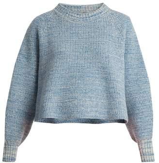 Vika Gazinskaya Cropped Wool Sweater - Womens - Blue
