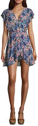 REWIND Rewind Short Sleeve Wrap Dress-Juniors
