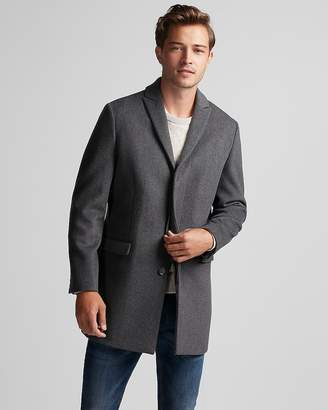 Express Gray Twill Recycled Wool Topcoat