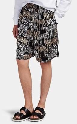 Prabal Gurung Men's Wildcat-Print Silk Drawstring Shorts - Black