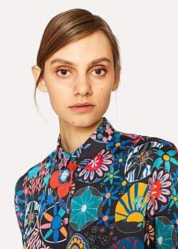 Paul Smith Women's Black 'Enso Floral' Print Shirt