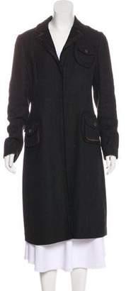 Prada Silk-Trimmed Long Coat