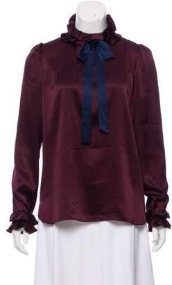 Paule Ka Ruffle Trimmed Silk Blouse