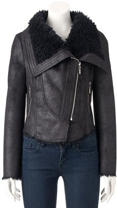 Women's Jennifer Lopez Faux-Shearling Moto Jacket $100 thestylecure.com