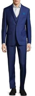 Tallia Orange Three-Piece Slim-Fit Wool Suit