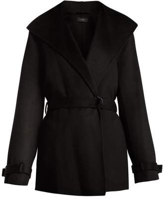 Joseph Lima Wrap Wool And Cashmere Blend Coat - Womens - Black