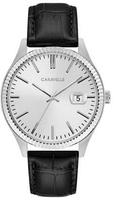 Bulova CARAVELLE Designed by Caravelle Men's Black Leather Strap Dress Watch 41mm
