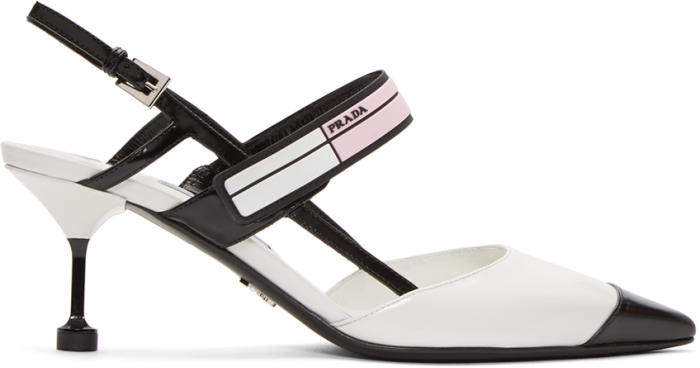 Prada White and Black Pointy Heels