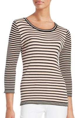 Striped Knit 3/4 Sleeve Top