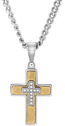 Unbranded Mens Stainless Steel & Cubic Zirconia Stacked Cross Pendant Necklace Chain