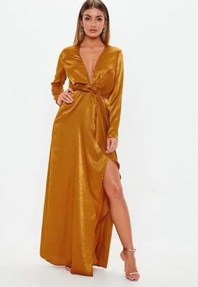 Missguided Rust Wrap Front Satin Maxi Dress
