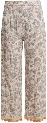 Sable rabbit-print stretch-crepe cropped trousers