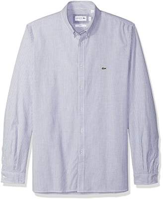 Lacoste Men's Long Sleeve Oxford Stretch Stripe Collar Slim Woven Shirt