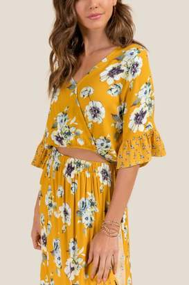 francesca's Denise Floral Wrap Top - Marigold