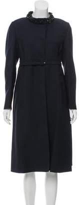 Valentino Embellished Silk & Wool-Blend Coat