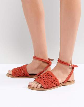 Asos DESIGN Faithful Woven Leather Sandals
