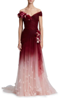 Marchesa 3-D Flower Embellishment Off-the-Shoulder Ombre Tulle Evening Gown
