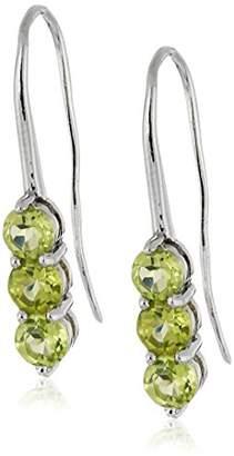Sterling Silver Garnet 3-Drop Hook Earrings