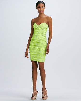 Nicole Miller Printed Strapless Ruched Dress