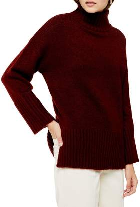 Topshop Oversize Deep Hem Funnel Neck Sweater