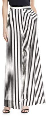 Self-Portrait Monochrome Wide-Leg Cotton Trousers