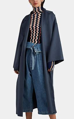 Loewe Women's Wool-Cashmere Melton Belted Wrap Coat - Blue