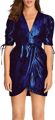 Alice McCall Salvatore Metallic Puff-Sleeve Mini Dress