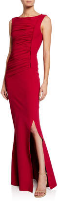 Chiara Boni Dacia Boat-Neck Sleeveless Ruched Gown with Slit
