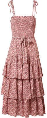 Tory Burch Ruffled Smocked Floral-print Midi Dress - Red