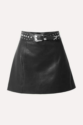Miu Miu Belted Studded Leather Mini Skirt - Black