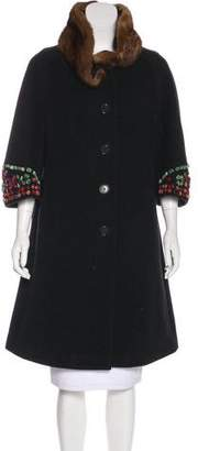 Etro Mink-Trimmed Wool Coat