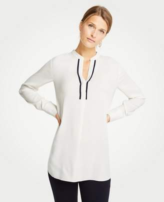 Ann Taylor Petite Contrast Piped Tunic