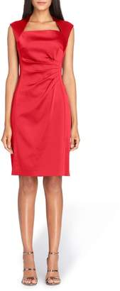 Tahari Stretch Satin Sheath Dress