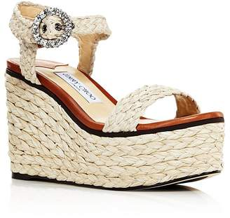 Jimmy Choo Women's Nylah 100 Braided Raffia Wedge Sandals