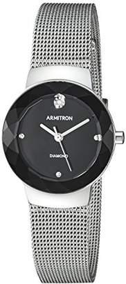 Armitron Women's 75/5567BKSV Diamond-Accented -Tone Mesh Bracelet Watch