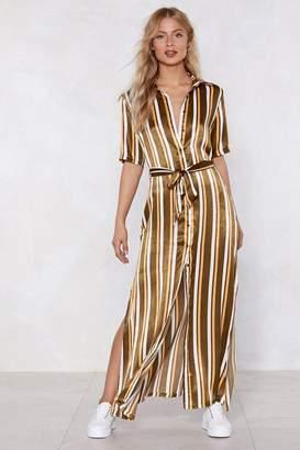 Nasty Gal Changing Lanes Striped Shirt Dress