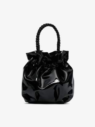 Staud black Grace patent leather drawstring bag