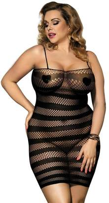 597f4b95a5 YouYaYZAI Women s Plus-Size See Through Lace Sexy Lingerie Bodystocking( ...
