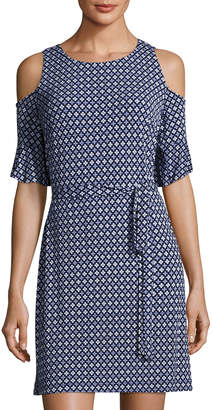 Donna Morgan Cold-Shoulder Shift Dress, Blue Pattern $79 thestylecure.com