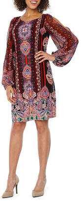 MSK Long Sheer Split Shoulder Sleeve Paisley Shift Dress