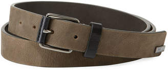 Armani Collezioni Men's Sueded Leather Belt, Taupe